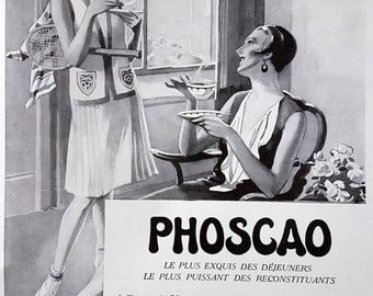 Phoscao French poster, original art deco advertising, vintage coffee ad, old magazine retro ad 1930 coffee illustration print for framing