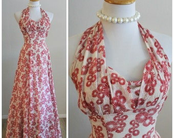 Vintage 40's WWII Red Cream Halter Top Boned UNIQUE Fabric Full Circle Sweep Maxi Dress Red Carpet Excellent pin up