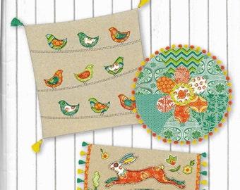 Folklore Throw Pillow Pattern, Lily Ashbury, Bohemian Pillow Instructions, Pillow Pattern, 3 Pillows Designs, LA 00537
