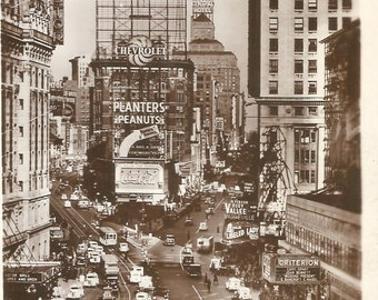 Vintage black and white postcard Times Square New York City digital download printable instant image