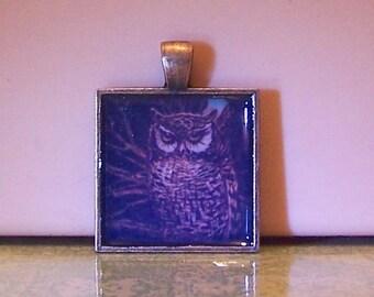 Handmade bezel necklace pendant keychain owl