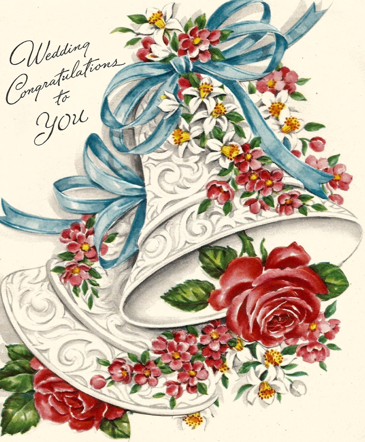 Wedding Wishes Cards: Vintage Wedding Congratulations Greeting Card Bel Flowers