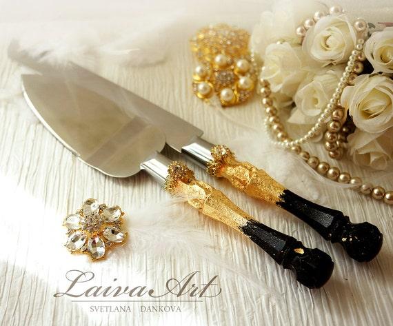 gold black wedding cake server set knife cake by laivaart. Black Bedroom Furniture Sets. Home Design Ideas