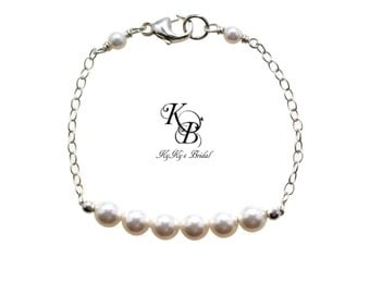 Pearl Bracelet, Bridesmaid Bracelet, Sterling Silver Bracelet, Wedding Jewelry, Bridesmaid Jewelry, Bridesmaid Gift, Bridal Jewelry, Wedding