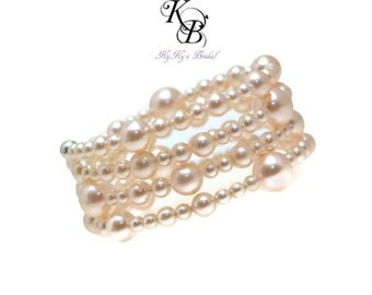 Pearl Bridal Bracelet, Bridal Cuff Bracelet, Wedding Jewelry, Multistrand Bracelet, Bridal Jewelry, Bridal Shower Gift, Prom Jewelry