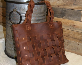 Woven Leather Tote, Sista Tote, Leather Bag, Leather Laced Bag, Braided handles, Brown Tote, Leather Purse, Custom Tote, Made in USA