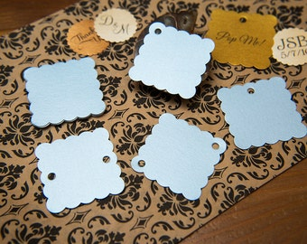 "Baby Blue Pearlised 1.5"" Square Luxury Gift Tags, Blank Tags, Wishing Tree Tags, Wedding favour tags, Jewellery Tag, wedding favors 1.5 inch"