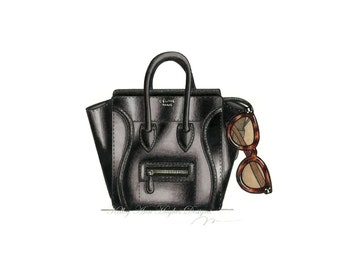 Not a real purse!!! Fashion Blogger's Essentials Illustration Print