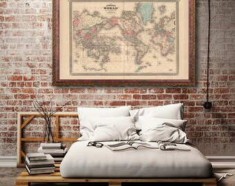 """World Map, Vintage 1870 world map reprint - home decor  -4 large/XL sizes up to 54""""x36""""-in two colors"""