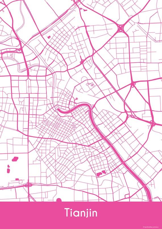 Tianjin Map Roads Tianjin Print City Map Art of Tianjin