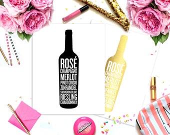 The Bottle Gold Foil Wine Print Poster 8x10