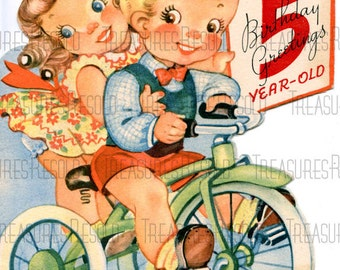 5 year old birthday card gangcraft vintage five year old birthday card etsy birthday card bookmarktalkfo Image collections