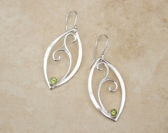 Peridot Forged Filigree Leaf Earrings, Silver Peridot Earrings, Peridot Leaf Earrings, August Birthstone Earrings