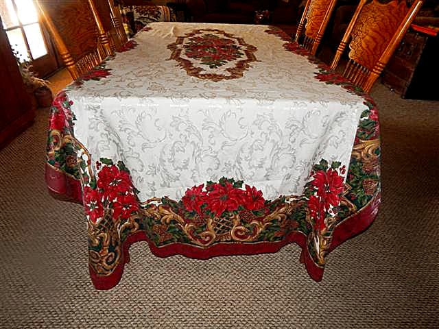 Christmas Tablecloth 120 X 60 Elegant Gold Burgundy And Green