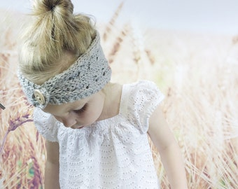 Kids Lace Knit Button Headband for Spring Pearl Grey Lightweight Knit Headband with Button Children Accessories Head Wrap Easter Fashion