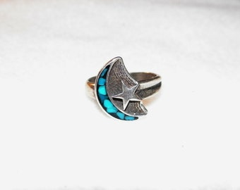 Sterling Silver Moon And Star Ring With turquoise Chipinlay