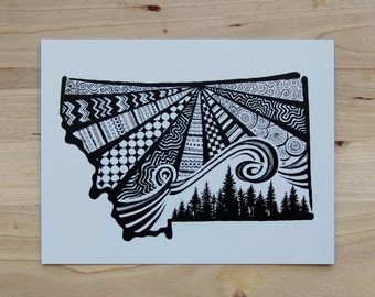 Black and White Montana Postcard- 4 Pack