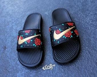 Womens Nike Slides Sandals, Custom Nike Benassi Sliders, Floral, Roses, Swoosh Slide Sandals