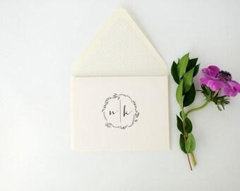ruby wedding thank you cards  // personalized stationery / personalized thank you cards / card set / monogram laurel wreath gray custom