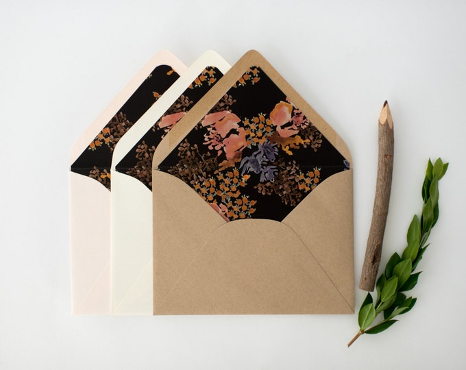 "antiquaria ""zoe"" floral lined envelopes (sets of 10)"