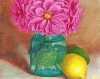 Mason Jar Painting, Ball Jar Painting, Dahlias in Ball Jar, Fine Art Print of Original Oil Painting by Amelia Nowak