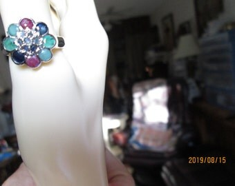 Handcrafted Genuine 1.02ctw Emerald, Ruby, and Blue Sapphire Silver 925 Rings Size 6.5 and 8 3/4, Wt. 6.3 Grams Each