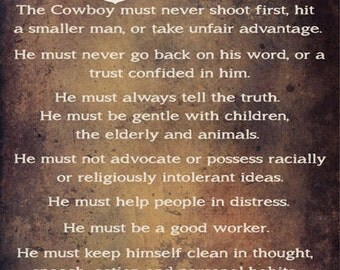 Cowboy Code Metal Sign, Words to Live By, Western, Quote   HB7203