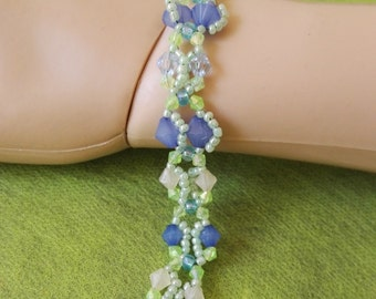 Green and blue butterfly beadwork bracelet  crystal beads