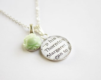 North & South book page necklace. Elizabeth Gaskell. Mr. Thornton. Margaret