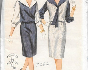 Vintage 1960s Butterick Sewing Pattern 3262 - Misses' Jumper and sailor collar blouse size 14 bust 34 uncut