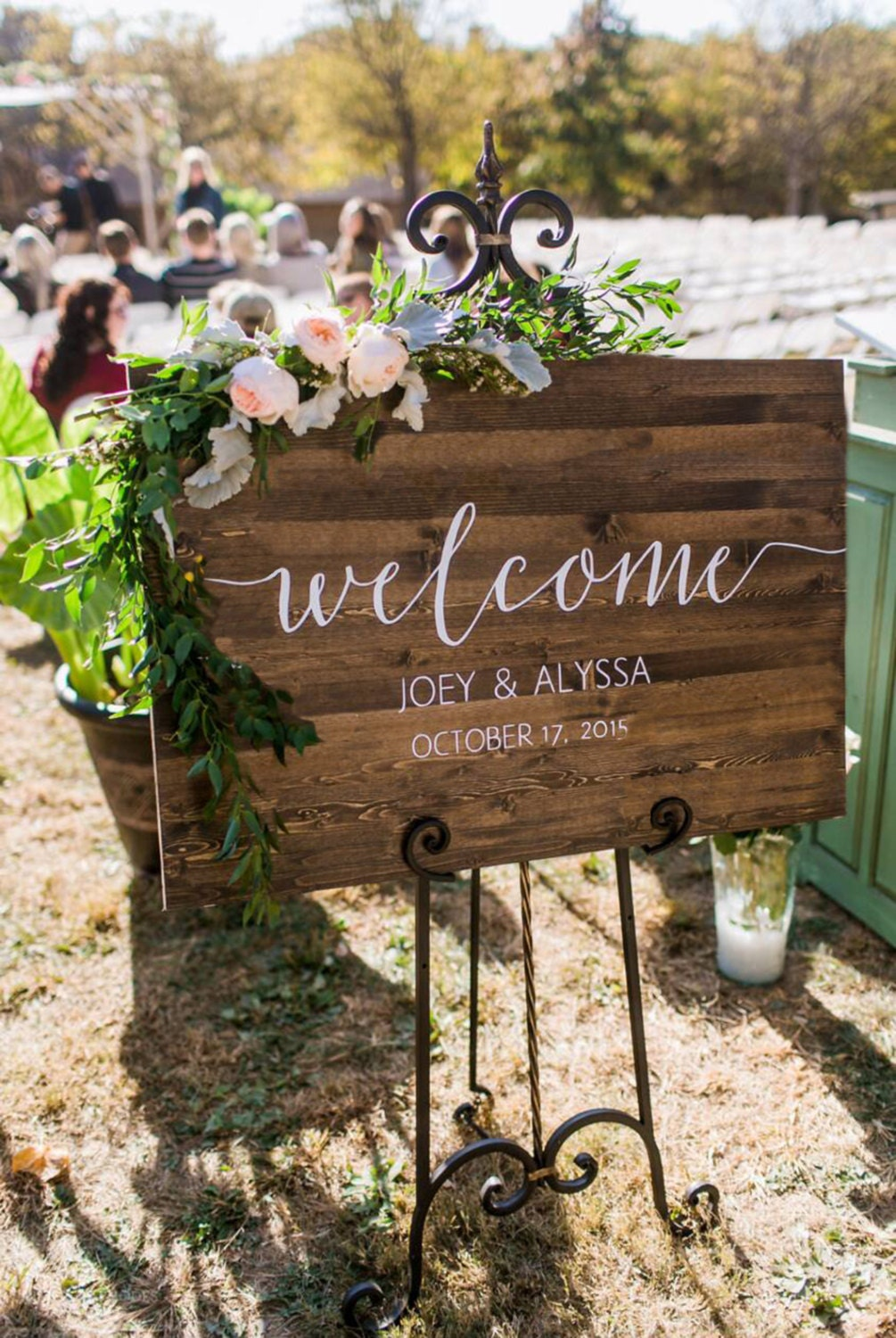 Wedding welcome sign rustic wood wedding sign sophia for Sign decoration
