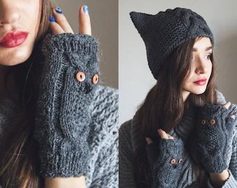 Knit Owl Fingerless Gloves Mittens Dark Grey Light Grey Warmers Mittens Fingerless Gloves Winter Fall Knit Wrists Arm Warmers Animal Mittens