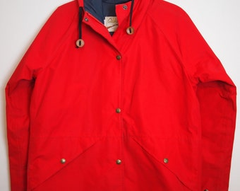 Vintage Red Cabela's  Goretex Hooded Raincoat / Size Small / Outerwear / Made in USA