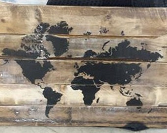 Reclaimed wood, pallet wood, world map, home and living, home decor, wall decor, wood sign,Christmas, Father's Day