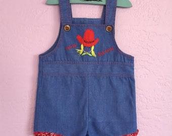 "Vintage Denim Overalls. Vintage Denim Shortalls. Vintage Cowgirl Shortalls. Vintage ""Howdy Partner"" Overalls. Cute Cowgirl Overalls. 12-18 m"
