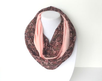 Pink & Brown Scarf, Fashion Lightweight Scarf, Summer Infinity Scarf, Two Tone Scarf, Unique Handmade Scarf