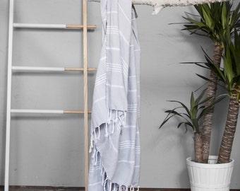 Turkish Towel Light Gray   Authentic Beach Towel Travel Throw Bath Towel Fouta Turkish Cotton Yoga Spa Blanket Sarong Summer Accessory Throw
