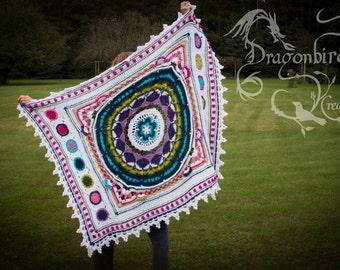 Flower Garden Afghan, Crocheted Flower Afghan, Flower Blanket, Girl Blanket, Beautiful Afghan, Handmade Blanket, Flower Power Afghan