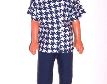 Fashion  Doll Clothes-Navy/White Houndstooth Short Sleeve Shirt & Navy Pants