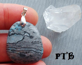 """Stability ~ Authentic Blue Crazy Lace Agate Gemstone 1 1/2"""" Pendant 100% Solid 925 Sterling Silver"""
