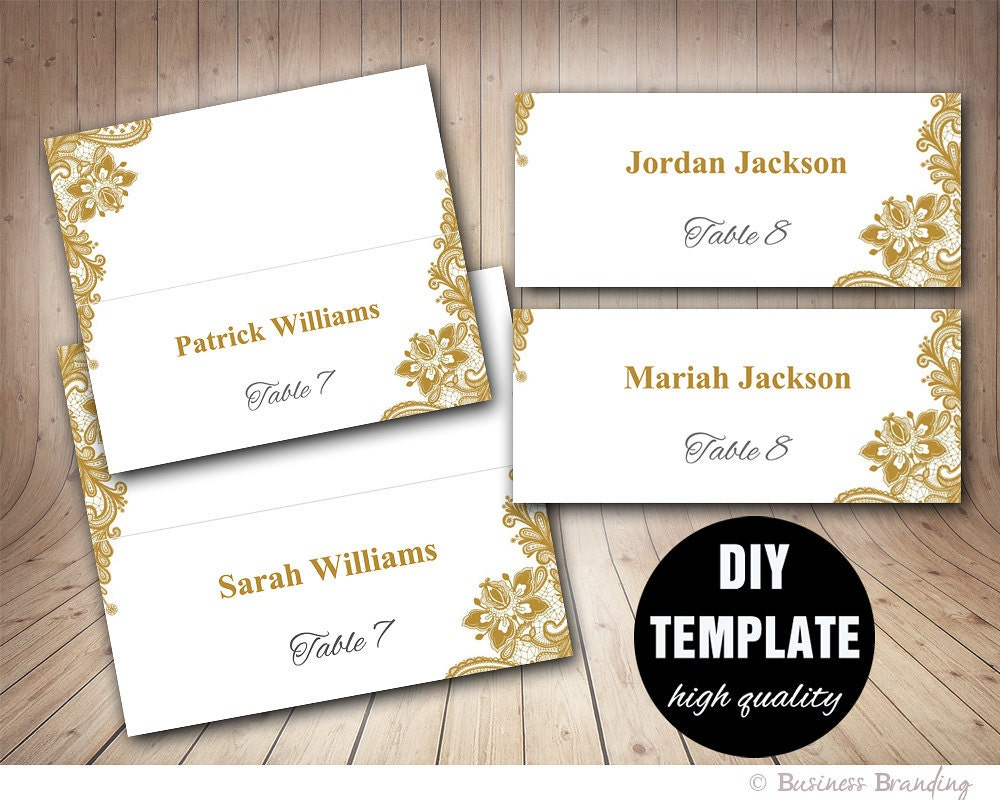 Gold Lace Wedding Place cards Template Foldover DIY Gold