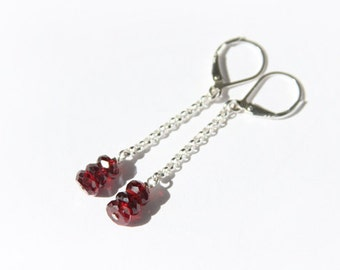 Garnet Earrings Sterling Silver Faceted Deep Red Dark Red Earrings Natural Stone Simple Long Earrings Mozambique Garnet Lever Back #16335