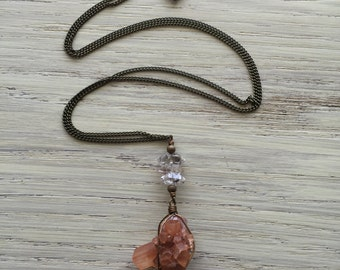Long aragonite & herkimer diamond necklace / aragonite necklace / boho necklace / bohemian necklace / long stone necklace / antique brass