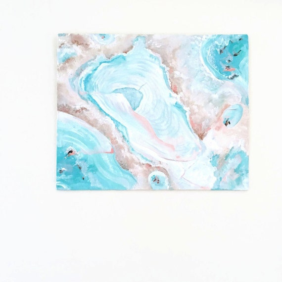 Teal abstract painting original abstract art pastel for Pastel teal paint