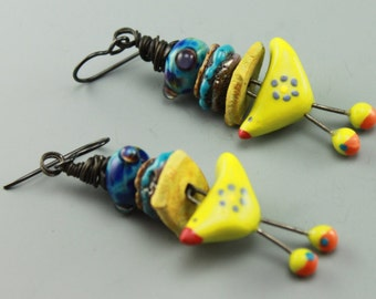 Boho Earrings, Cottage Chic Earrings, Bird Earrings, Chick Earrings, Colorful Earrings, Yellow Earrings, #623-114