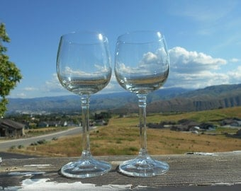 """Crystal Wine Glasses, Multisided Stems, Two Wafers, 2-1/2"""" Diameter x 6-7/8"""" Tall, Set of 2"""