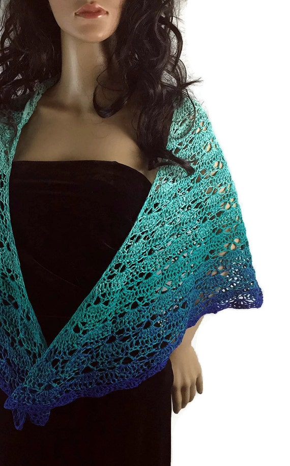 Outlander Shawl Lace Ombre Turquoise Blue Wrap Winter accessories Diana Gabaldon Crochet Knit FREE SHIPPING SH19