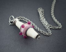 Lampwork Pendant • Sterling Silver • Glass Necklace • Silver Chain • Pink • Flame Work • Handmade • Contemporary Glass Beads • entre2et7
