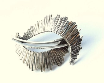 Sterling Silver Modernist Brooch | Vintage Abstract Pin