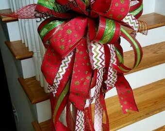Red Christmas Tree Topper, Large Tree Bow, Holiday Tree Topper~ Christmas Bow, Mailbox Bow~Mesh Spirals Tree Topper